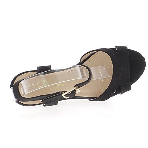 Nero con zeppa in camoscio aspetto 10cm fibbia tacchi