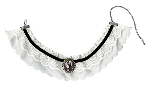 Eternal Matrimony Love Skulls Black & White Lace Choker with Handmade Silver Art Brooch ()