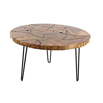 Deco 79 42075 Round Wooden Coffee Table, Black/Brown