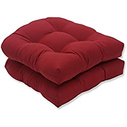 Pillow Perfect Indoor/Outdoor Red Solid Wicker Seat Cushions, 2-Pack