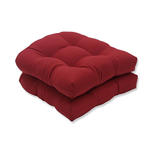 Sunbrella Cushions - Pillow Perfect Indoor/Outdoor Red Solid Wicker Seat Cushions, 2-Pack