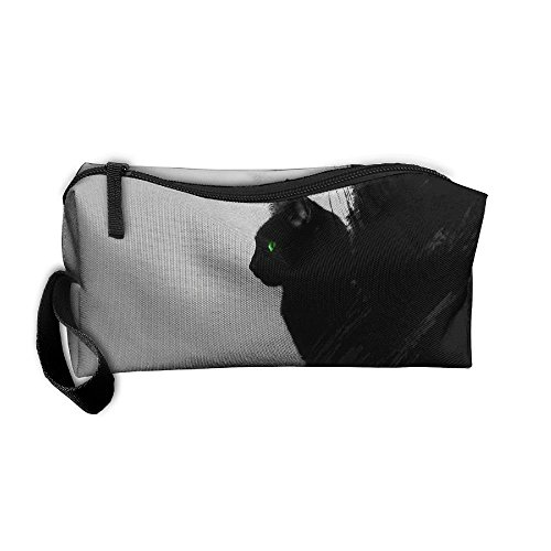 Cool Cat Halloween Makeup (Roomy Cosmetic Bags With Zipper For Travel Black Cat Portable Ladies Hand)
