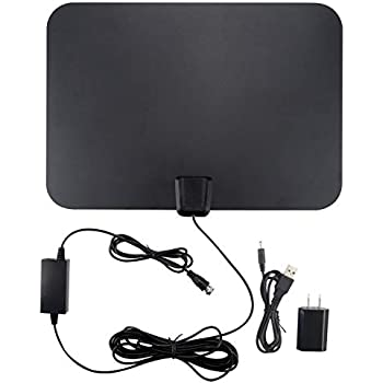 TV Antenna 4K Smart TV Antennas indoor 60 Mile Range 16.5FT Coaxial Cable with Detachable Amplifier Signal Booster Local Broadcast HD VHF UHF Signal ...