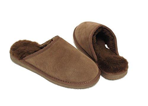 Pantofole In Pelle Di Agnello Pantofole Da Donna Con Pelle Di Agnello Australiana, Marrone Con Pelliccia Marrone Con Suola Elastica Comfort - Molto Caldo
