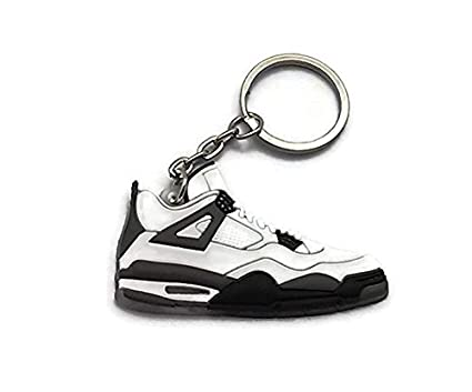 0a9b6679b80ae8 Image Unavailable. Image not available for. Color  Jordan IV 4 LS  White Grey Cement Undefeated Sneakers Shoes Keychain Keyring AJ 23