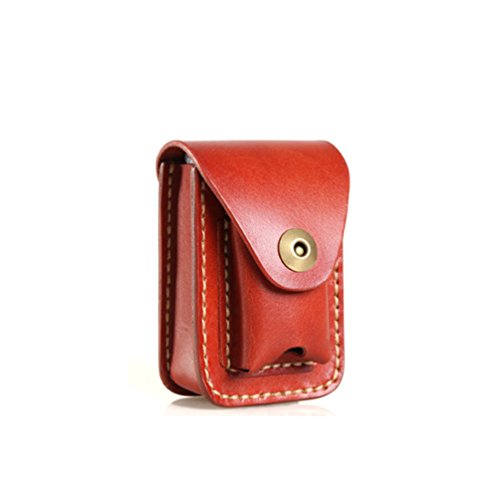 Phonyeer Handmade Genuine Leather Waist Cigarette Case With Lighter Holder For Zippo& 84mm (Brown)