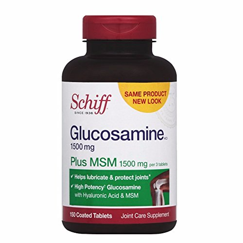 Schiff Glucosamine 1500mg Plus MSM and Hyaluronic Acid, 150 tablets - Joint Supplement by SCHIFF