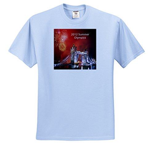 3dRose Florene Special Events - London Bridge Nitetime with 2012 Olympics n Fireworks - T-Shirts - Adult Light-Blue-T-Shirt 2XL - 2012 London T-shirt