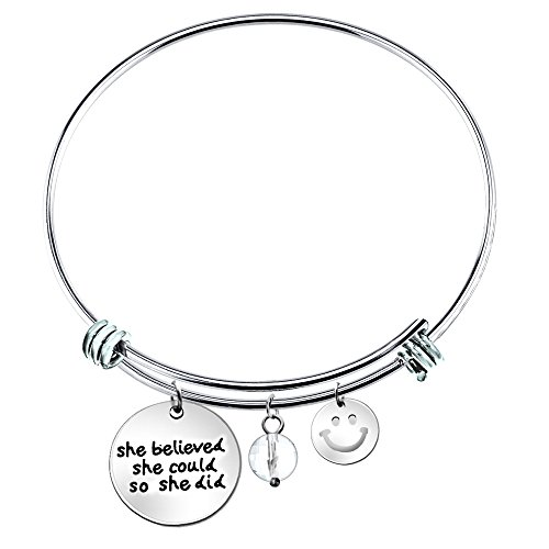 She Believed She Could so She Did Inspirational Expandable Wire Bangle Bracelet 2.5