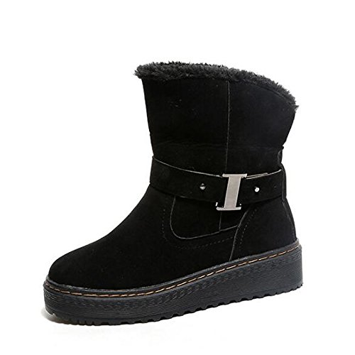 Comfort per Mid in stivali stivali donna rotondo da Black grigio Snow tacco Nubuck Scarpe Calf Casual fibbia piatto cadono scarpe pelle Boots inverno HSXZ Toe aq18x8