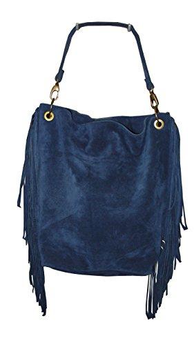Leather Blue With Bag Fringe Leather Blue wf8EqfR