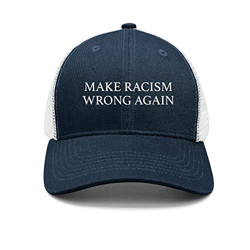 Qevenon-08 Flat Brim Caps Make Racism Wrong Again Summer Trucker Hat