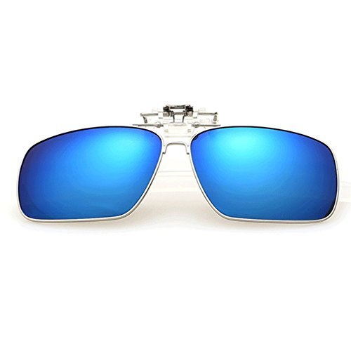 A-Royal Fashion Retro Square Myopia Polarized Clip-on Flip up Driving Fishing Sunglasses - Do Blocking Blue Do Light What Glasses