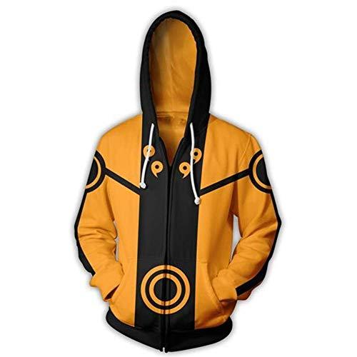 UU-Style Men's Naruto Kakashi Long Sleeve Bomber Jacket Cosplay Costume Jiraiya Hoodie Sweatshirt (Small, Yellow)
