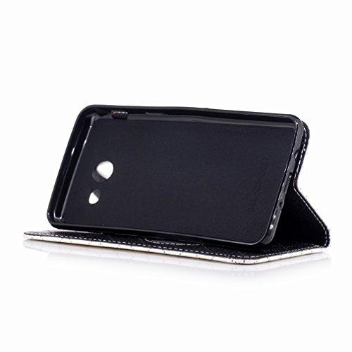 Yiizy Samsung Galaxy J5 (2017) Custodia Cover, Amare Design Sottile Flip Portafoglio PU Pelle Cuoio Copertura Shell Case Slot Schede Cavalletto Stile Libro Bumper Protettivo Borsa (Bianco)