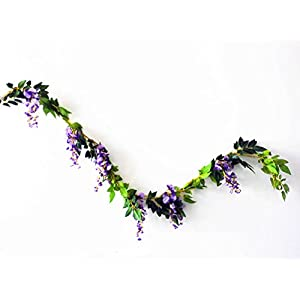 Sunrisee 2 Pcs Artificial Flowers 6.6ft Silk Wisteria Ivy Vine Hanging Flower Greenery Garland for Wedding Party Home Garden Wall Decoration 2