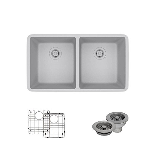 R3-1002-PWT-ST-CGF Pewter Equal Double Bowl Composite Granite Kitchen Sink with Two Grids and Matching Colored Strainer and (E-granite Double Bowl Undermount Sink)