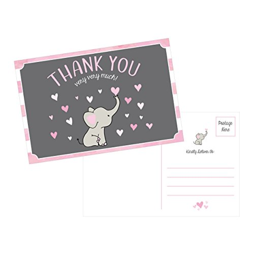 50 4x6 Elephant Girl Baby Shower Thank You Postcards Bulk, Beautiful Pink Modern Cute Boho Blank Thanks Note Card Stationery Appreciation Set