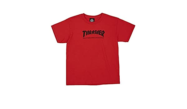 026c01ede1b3 Amazon.com: Thrasher Skate Mag Youth Tee Red S-W2: Clothing