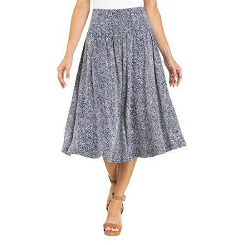 Hilary Radley Womens Skirt Navy Blue Dots Tummy Control PullOn Circular XXL