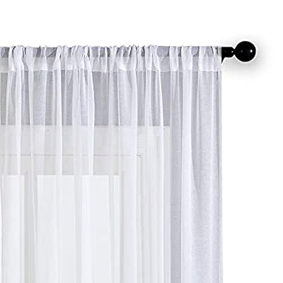 MRTREES Sheer Curtains Living Room Curtain Sheers Bedroom Window Curtain Panels Window Treatment Set