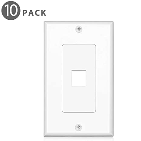 Tnp Keystone Wall Plate 10 Pack 1 Port Keystone Insert Jack Single Gang Wiring Plug Socket Decorative Face Cover Outlet Mount Panel With Screws