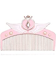 Sailor Moon Makeup Detangler Comb - Cute Pink Metal Hair Brush Sailor Moon Hair Comb with Crystal Wing Heart Star Shape Gueen Comb Best for Girlfriend (Style 2)