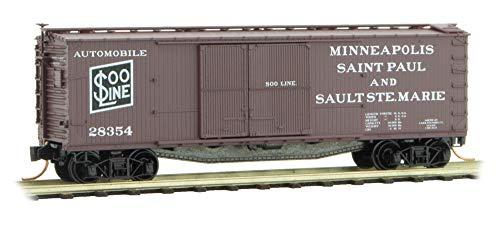 Micro-Trains MTL N-Scale 40ft Wood Box Car Soo Line Automobile Service #28354