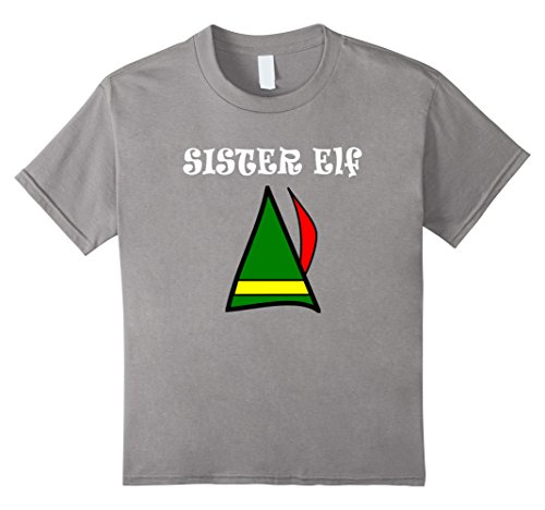 [Kids Sister Elf Merry Christmas Shirt Funny Elf Hat Humor Gift Te 4 Slate] (Elf On Shelf Costumes)