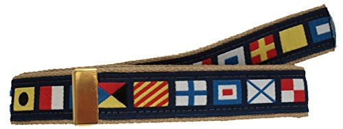 Nautical Code Flag Military Style Belt, Khaki Web Belt (NO Buckle)