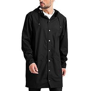 JINIDU Men's Lightweight Waterproof Rain Jacket Packable Outdoor Hooded Long Raincoat 21