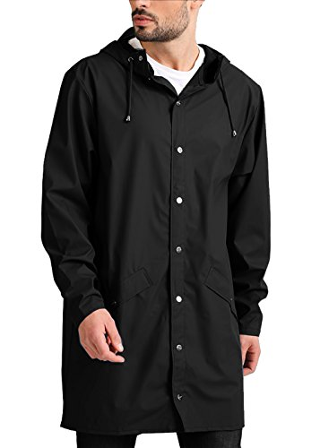(JINIDU Men's Lightweight Waterproof Rain Jacket Packable Outdoor Hooded Long Raincoat (LLL, Black(with Button Pockets)))