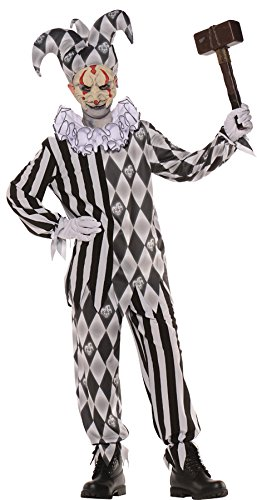Underwraps Boy's Evil Harlequin Jester Clown Horror Theme Child Halloween Costume, Child L (10-12) Black/White