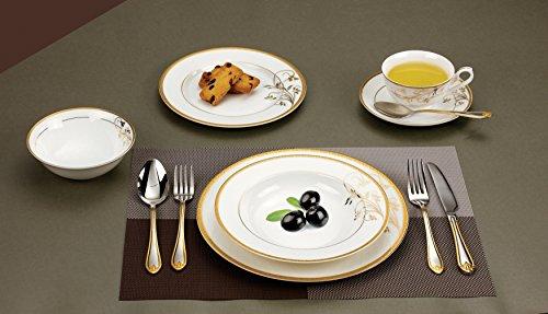Lorren Home Trends La Luna Bone China 57-Piece 24K Gold Floral Design Dinnerware Set, Service for 8 by Lorren Home Trends (Image #2)