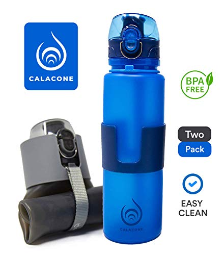Collapsible Water Bottles - 2 Pack - Leak Proof - BPA Free - 22 oz - Easy to Clean - Foldable Travel, Yoga, Hiking, Fitness, Sports, Outdoors & Commuting Water Bottles (Bulk Collapsible Water Bottle)