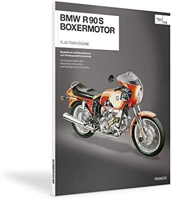 Franzis 67009 BMW R 90 S Boxermotor originalgetreues Modell, Bausatz mit schaltbarem 5 Gang Getriebe, über 200 Teile und Begleitbuch, bunt