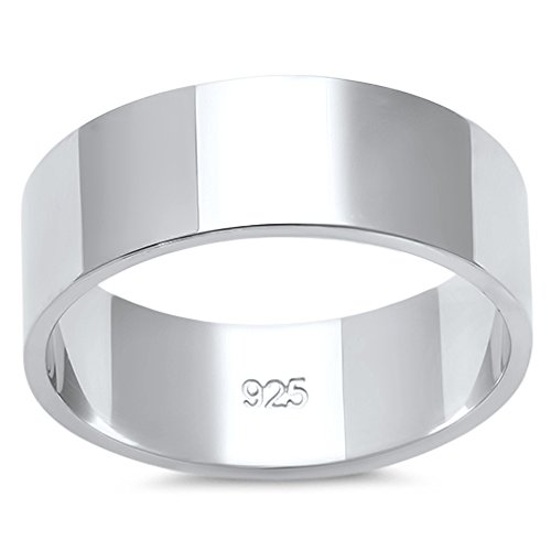 Oxford Diamond Co Solid Flat Sterling Silver Women's Mens Unisex Wedding Band Ring Comfort 7mm Size 8