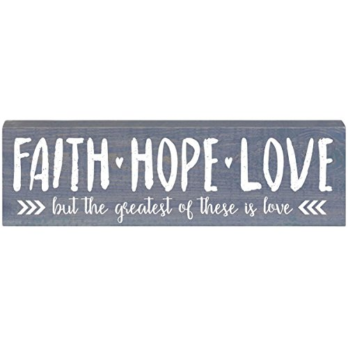 LifeSong Milestones Faith Hope Love Inspirational Pine Block for Women and Men Gift ideas for Husband, Wife, Family, and Best Friends 2'' x 6'' x 18'' by (Classic Grey) by LifeSong Milestones
