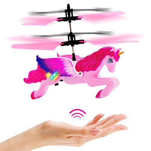 Flying Unicorn Drone Toys Gifts for Girls Age 6 7 8 9-14 Years Old, Pink Mini Hand Control Flying Helicopter Unicorn Fairy Doll ()