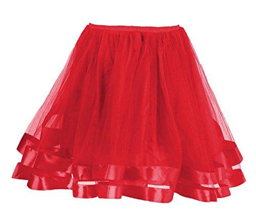Facent Mujer Adultos Cortas Tutu Falda Tul Enaguas para Disfraz Halloween Rojo