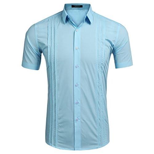 Cheap COOFANDY Mens Short Sleeve Guayabera Cuban Shirt Wedding Party Beach Dress Shirt free shipping