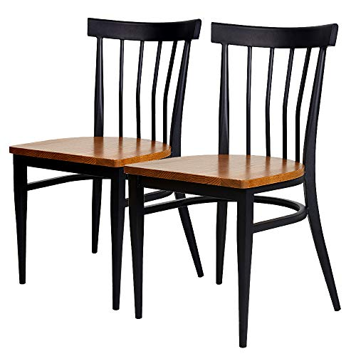 Schoolhouse Restaurant Chairs (KARMAS PRODUCT Kitchen & Dining Room Chair Black School House Back Metal Restaurant Chair -Solid Wood Seat and Metal Legs,Set of 2)