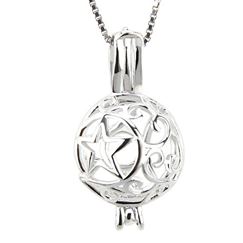 NY Jewelry 925 Sterling Silver Star Moon Pendants for Pearl, Pearl Cage Pendant for Women Jewelry Making DIY