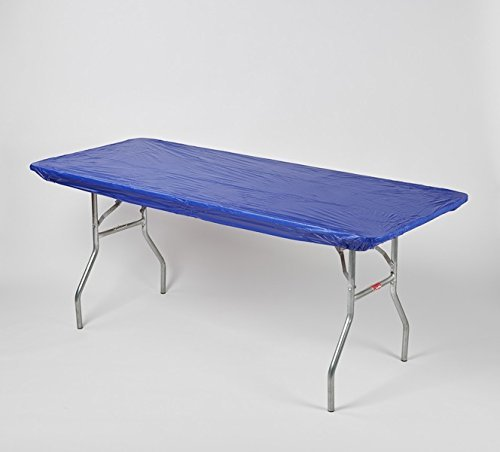 """Kwik-Covers 30"""" x 72"""" (6 Feet) Royal Blue Rectangular Fitted Plastic Table Covers - 10 Pack"""