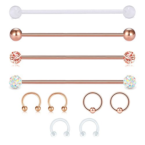 "JFORYOU 14G Cartilage Earring Industrial Barbells Surgical Steel Cartilage Tragus Helix Earring Flexible Bioplast Retainer, 1 1/2""(38mm),Rose Gold by JFORYOU"