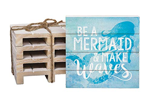 Be A Mermaid & Make Waves Blue 4 x 4 Inch Dried Pine Wood Pallet Coaster, Pack of 4