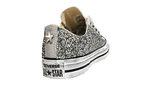 Converse all star ox basse glitter argento mouse white vintage ( prodotto artigianale )