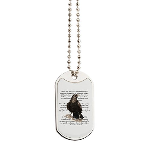 CafePress - Edgar Allen Poe The Raven Poem - Military Style Dog Tag, Stainless Steel with Chain -