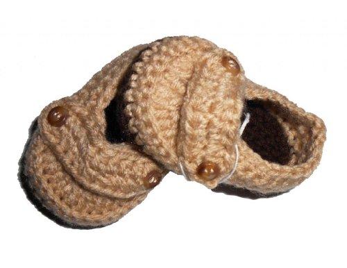 Sweet Lullabiez Handmade Baby Loafers in Tan & Brown Size (Crochet Preemie Booties)