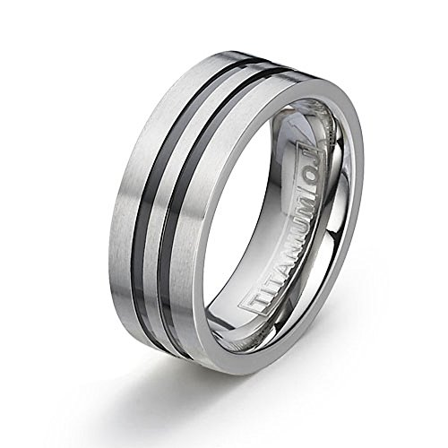 7mm Brushed Flat Titanium Wedding Band Two Black Grooves Comfort Fit SZ 6-12 Free Engraving Service